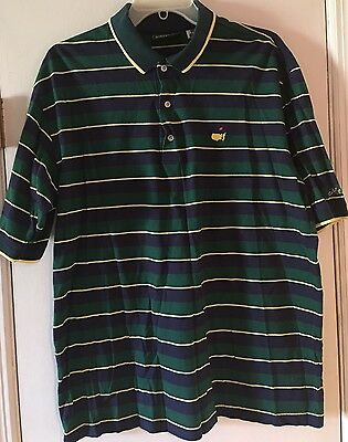 Masters Golf Collection 60's Two Ply Mercerized Cotton Striped Polo Shirt Men L