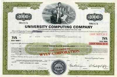 1974 University Computing Co Stock Certificate