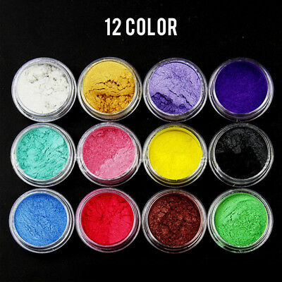 12Color Natural Mica Powder Pigment Slime Nail Art Mud DIY Decor Epoxy Material