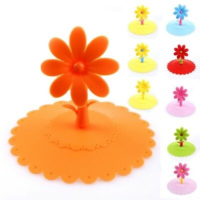 1pc Cup Lid Silicone Flower Cover Coffee Mug Leakproof Anti-dust Seal Lid Cap
