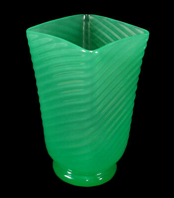 Vintage Steuben Carder Art Glass Vase Green Jade Spiral Ribbed Square Mouth