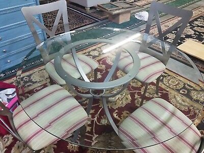 Kitchen Table And Chairs Round Metal Glass Top Dining Dinette Set For 4 chairs.