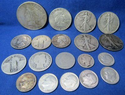 1899-1950 Silver Dollars, Half Dollars, Quarters, Dimes, Nickel Coins Lot Of 19