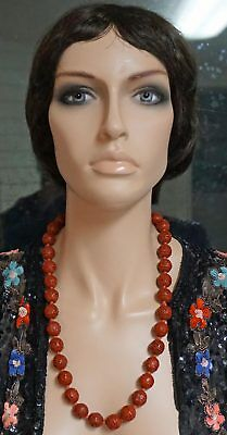 Vintage Chinese Carved Lacquer Cinnabar Beaded Necklace Silver Vermeil Catch