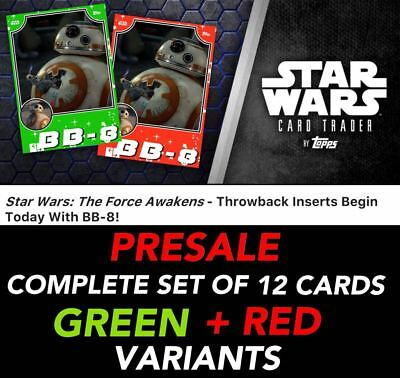 THE FORCE AWAKENS THROWBACK PRESALE GREEN+RED SET OF 12 Topps Star Wars Digital