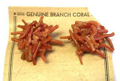 Vtg ANTIQUE Earrings Art Deco or Victorian ITALY Real CORAL Cluster lot w