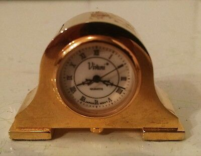 "Tiny Miniature Brass Mantle Clock 2"" Tall - 2"" Long Dollhouse or Curio Cabinet"