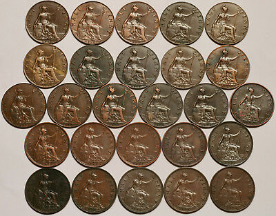 George V 1911-1936 Half-Pennies Date Run Collectable Grades