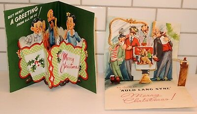 Vintage 50s POP UP Christmas Greeting Cards Lot of 2 by Hit Parade UNUSED Barber