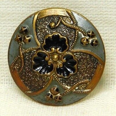 Antique VINTAGE Button Hand Painted Brass ART Deco Trefoil DESIGN  *A69