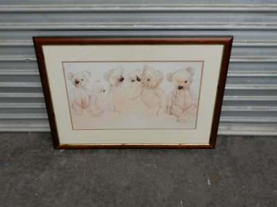 FRAMED ARTWORK - TIMBER FRAMED TEDDY BEAR DRAWING, s4y