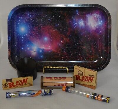 NEW Galaxy Rolling Tray Bundle Raw Roller *Paper *Tips *Concave Grinder* 2 Wraps