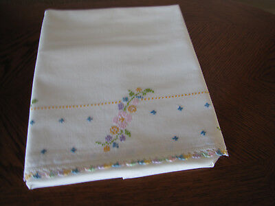 Vintage Single Pillowcase Embroidered & Crocheted Garlands Pink Cherry Blossoms