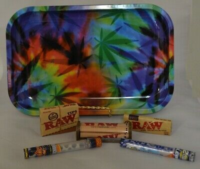 Leaf Bright 11x7 Rolling Tray Bundle Kit w/ Raw Roller *Paper *Tips and 4 Wraps