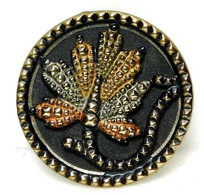 Antique VINTAGE Brass  Button VICTORIAN Hand Painted ART Deco Raised Leaf HH