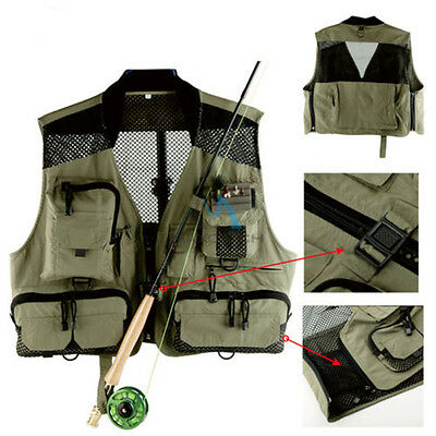 Outdoor Fly Fishing Mesh Vest Adjustable Mutil-Pocket Outdoor Sports Fish Vest