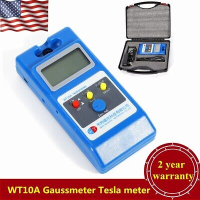 WT10A LCD Tesla Meter Gaussmeter Surface Magnetic Field Tester w/Box USA