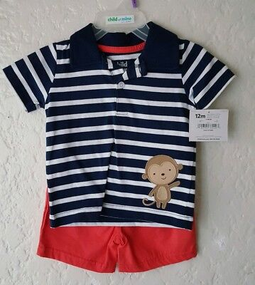 Child Of Mine by Carters Baby Boy Shirt and Shorts 2 Piece Set Monkey Size 12M