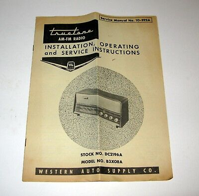 Ca 1960 Norelco B3X08A AM-FM Radio Installation Operating Service Instructions