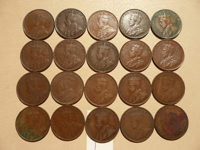 Lot of 20 Canada King George V Large Cent Coins - Lot A