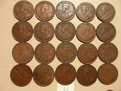 Lot of 20 Canada King George V Large Cent Coins - Lot D
