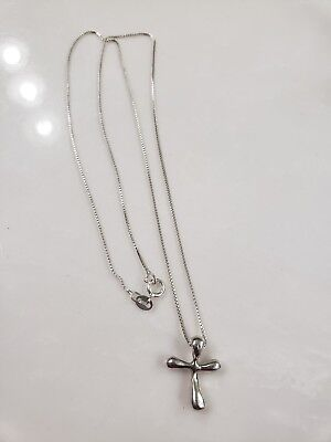 "Vintage Sterling Silver Cross Pendant 1"" T Box Chain Necklace 20"" T 4 g"