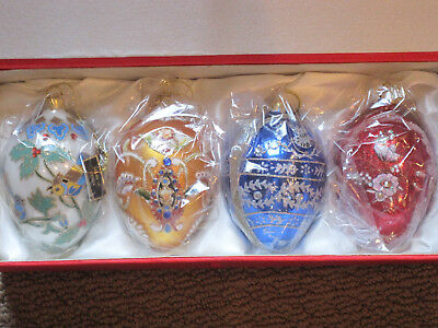 Joan Rivers Faberge Inspired  Egg Ornaments 2010 Set/4  NIB