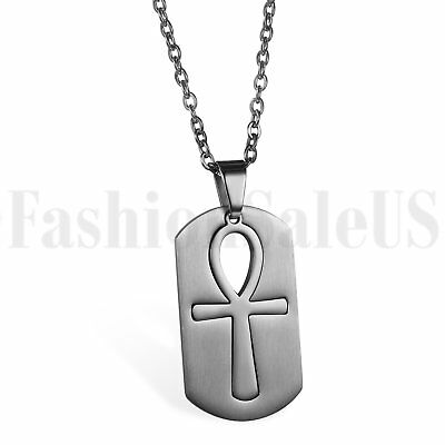 Egyptian Ankh Cross Of Life Dog Tag Pendant Necklace Stainless Steel Chain Gift