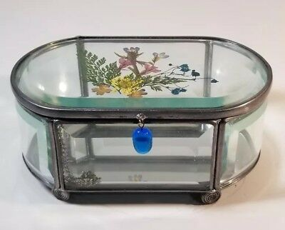 Royal Limited Silver Beveled Mirrored Glass Trinket Box W/ Pressed Flowers Lid