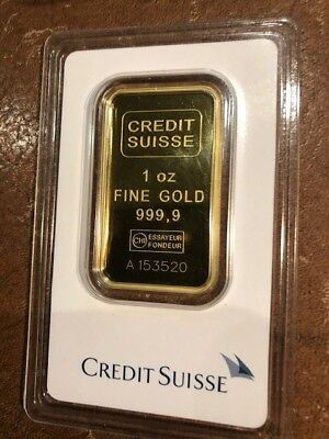 1 oz. Gold Bar - Credit Suisse - 99.99 Fine in Assay 3520