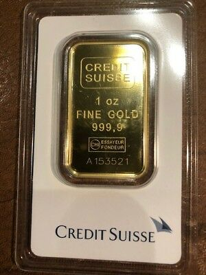 1 oz. Gold Bar - Credit Suisse - 99.99 Fine in Assay 3521