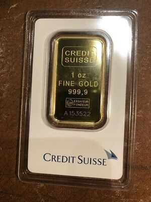1 oz. Gold Bar - Credit Suisse - 99.99 Fine in Assay 3522