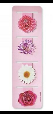 🌸 NEW Floral Magnetic Bookmarks Page Markers Clip Set of 4 SHIPS FREE TO USA🌸