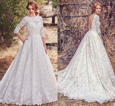 Backless Garden Wedding Dresses A-line Lace Bridal Gown Half Sleeves White Ivory