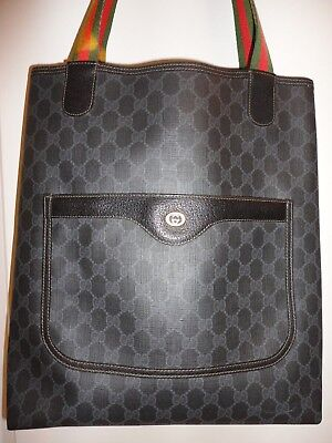 e8548b1bffd Vintage GUCCI Rare Black GG Supreme Coated Canvas Web Strap Tote Bag  Monogram