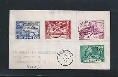 St. Kitts Nevis 1949 UPU 75th Anniv. FDC to New York, SON & Transit Cxls 2 scans