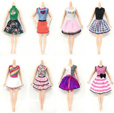 6pcs/Lot Beautiful Handmade Party Clothes Fashion Dress for  Doll Decor HK