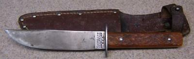 Old Jigged Stag or Bone Camillus Hunting Knife & Leather Sheath