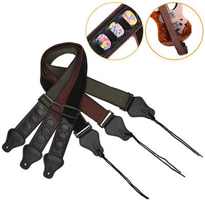 Electric Guitar Strap Adjustable Straps Leather Ends With 3 Guitar Pick Hold FHK