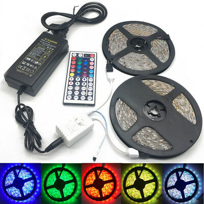 5M10M 5050 RGB LED Light Strip with 44keys IR Remote Controller +12V 2A/5A Power
