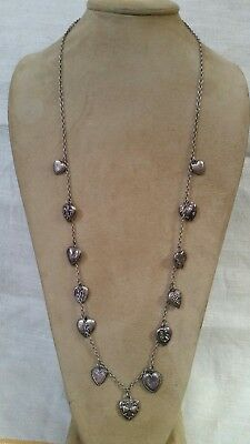 """Antique Victorian Sterling Silver PUFFY HEART CHARM NECKLACE - 13 Charms, 31""""L"""