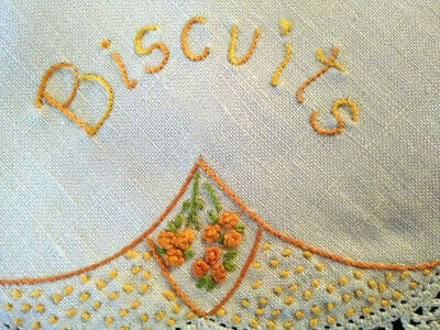 Vintage 'Named' linen - word 'Biscuits'    ~Hand Embroidered Doily & Grub roses