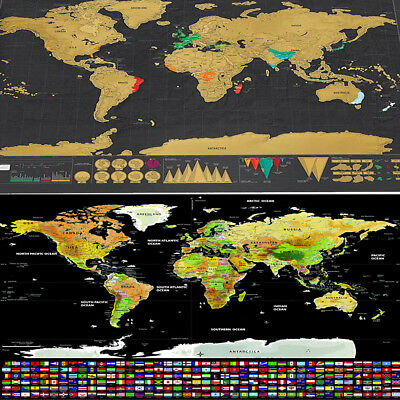 Travel Tracker Big Scratch Off World Map Poster Country Flags Scratch Map B1C0X
