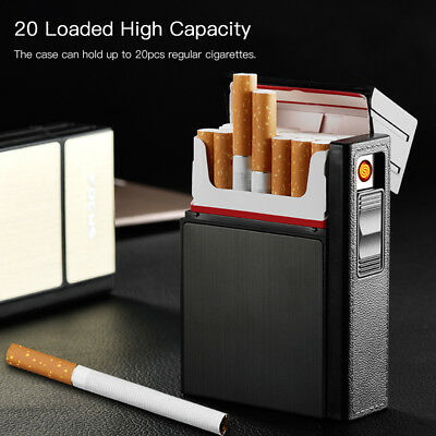 20 Loaded Cigarette Box Holder Dispenser Tobacco Storage Case + USB Lighter Hot