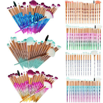 20pcs Unicorn Diamond Make up Brushes Set Foundation Eyeshadow Eyeliner Powder