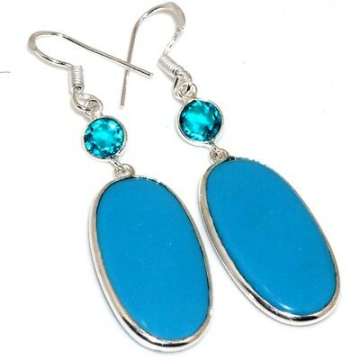 """X11291 Blue Turquoise Blue Topaz 925 Sterling Silver Plated Earrings 2.6"""""""