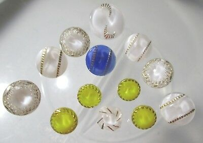 Vintage Sml Lot Of 13 Mixed Moonglow Glass Buttons All With Gold Detailing