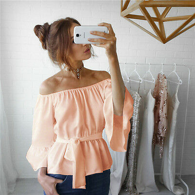 Fashion Women Ladies Summer Long Sleeve Shirt Loose Casual Blouse Tops T-Shirt M