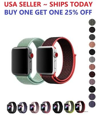 Woven Nylon Band for Apple Watch Sport Loop iWatch Series 4/3/2/1 38/42/40/44mm