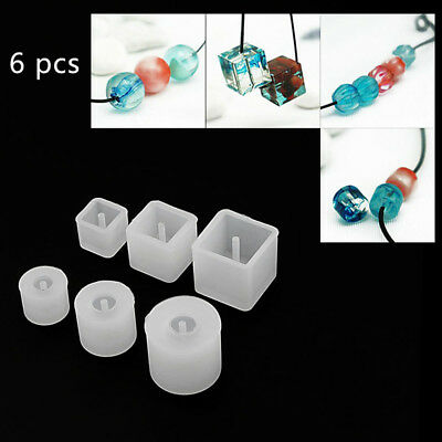 6Pcs Round Square Bead Silicone Mold Bracelet Pendant For Jewelry Making
